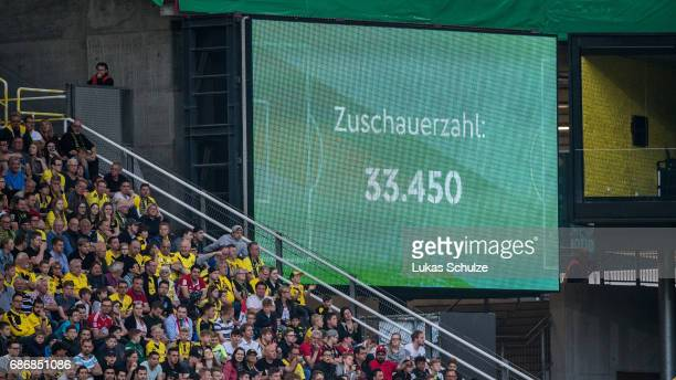 The number of spectators is seen on a LED board during the U19 German Championship Final between Borussia Dortmund and FC Bayern Muenchen on May 22...