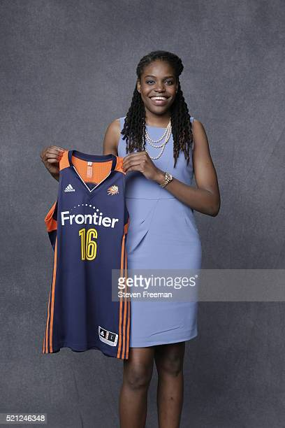The number six overall pick by the Los Angeles Sparks and later traded to the Connecticut Sun Jonquel Jones poses for a portrait during the 2016 WNBA...