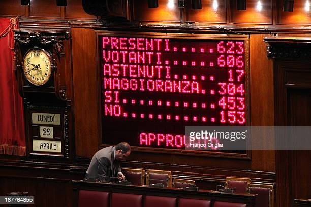 The numbers with which Italy's new Prime Minister Enrico Letta passed the approval of the Italian Parliament is displayed during the confidence vote...