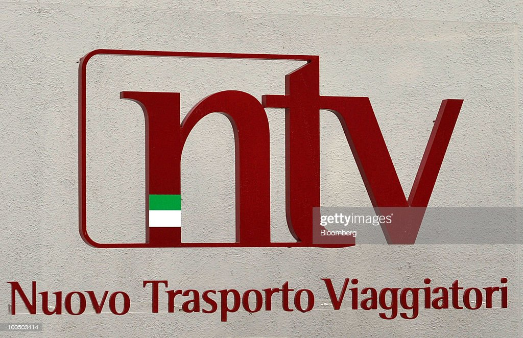The Nuovo Trasporto Viaggiatori S.p.A. (NTV) logo is seen on the company's headquarters in Rome, Italy, on Tuesday, May 25, 2010. NTV plans to open a rail service in Italy next summer, using high-speed Alstom AGV trains on the same recently-upgraded tracks currently used by Trenitalia SpA. Photographer: Victor Sokolowicz/Bloomberg via Getty Images