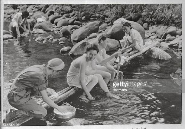 The nurses who worked in the Army's two hospitals on bombscarred Bataan peninsula shared primitive but practical bath and laundry facilities Here...