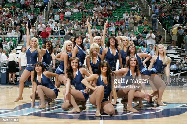The NuSkin Jazz dancers perform during timeout in the game against the Houston Rockets at EnergySolutions Arena on April 14 2008 in Salt Lake City...