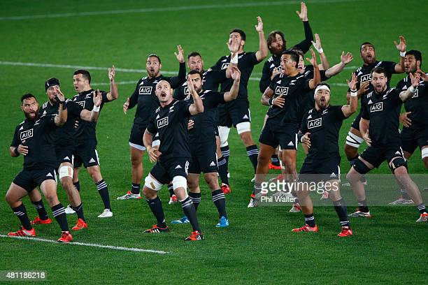The NZ Maori All Blacks perform the haka before the match between the New Zealand Maori All Blacks and the New Zealand Barbarians at Eden Park on...