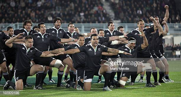 The NZ Maori perform the Haka during the international rugby match between the New Zealand Maori and England at McLean Park on June 23 2010 in Napier...