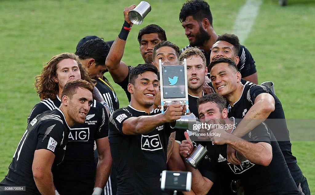 The NZ team take a selfie after their win at the 2016 Sydney Sevens Final between New Zealand and Australia at Allianz Stadium on February 7, 2016 in Sydney, Australia.