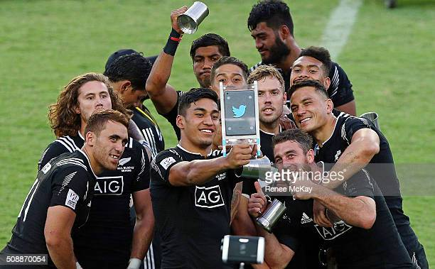 The NZ team take a selfie after their win at the 2016 Sydney Sevens Final between New Zealand and Australia at Allianz Stadium on February 7 2016 in...