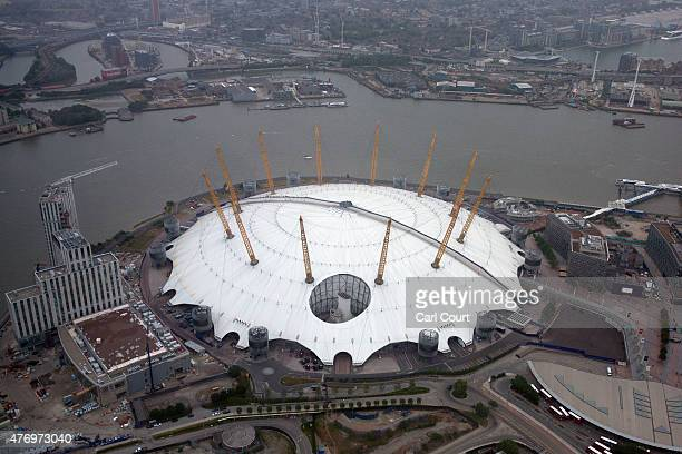 The O2 arena is pictured from a helicopter on June 13 2015 in London England