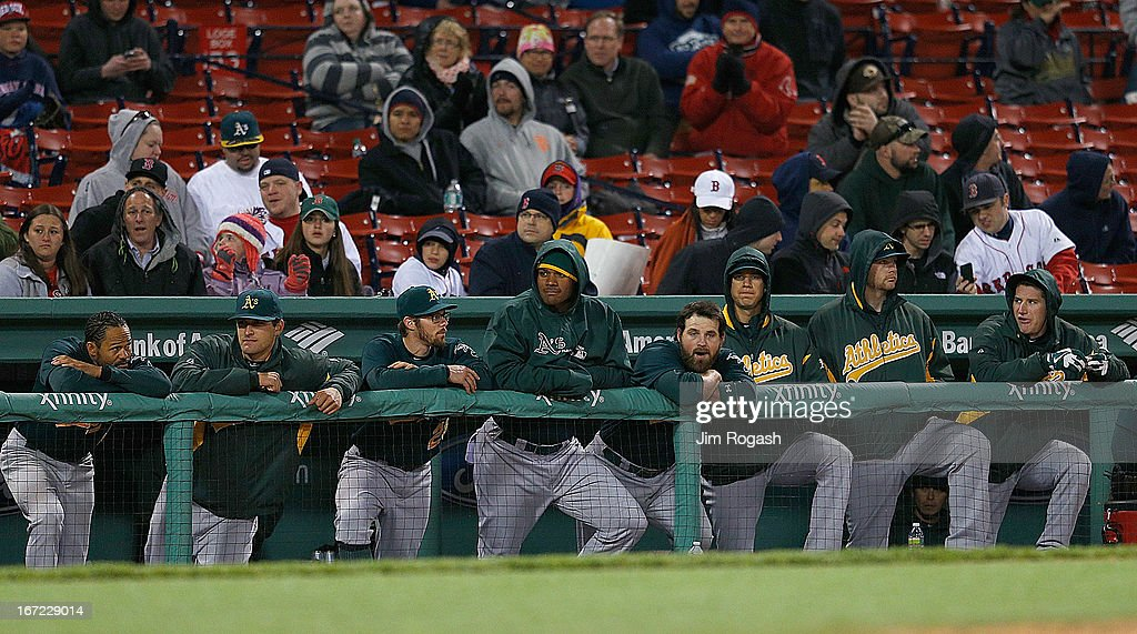 The Oakland Athletics bench watches the final moments of a 9-6 loss to the Boston Red Sox at Fenway Park on April 22, 2013 in Boston, Massachusetts.