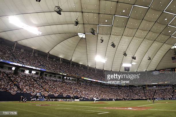 The Oakland Athletics play the Minnesota Twins at the Hubert H Humphrey Metrodome before Game One of the American League Division Series October 3...