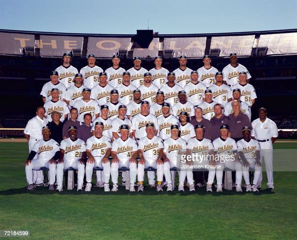 The Oakland Athletics pose for the 2006 team photo at the Network Associates Coliseum in Oakland California on September 15 2006