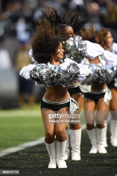The Oakland Raiders Raiderettes perform during their NFL game against the Kansas City Chiefs at OaklandAlameda County Coliseum on October 19 2017 in...