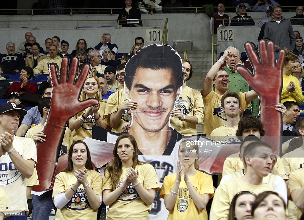 The Oakland Zoo cheers during the game against the Notre Dame Fighting Irish at Petersen Events Center on February 18, 2013 in Pittsburgh, Pennsylvania.