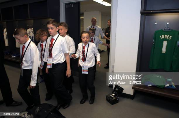 The Oaks Primary school players in the Preston North End dressing room prior to the KinderSport Football League Kids Cup Final