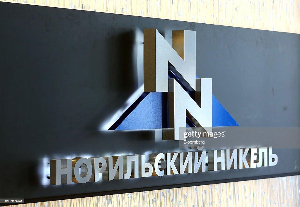 The OAO GMK Norilsk Nickel company logo is displayed inside their headquarters at Bolshaya Tatarskaya Street in Moscow, Russia, on Tuesday, Feb. 26, 2013. OAO GMK Norilsk Nickel, Russia's biggest mining company is the world's biggest producer of Nickel and Palladium. Photographer: Andrey Rudakov/Bloomberg via Getty Images