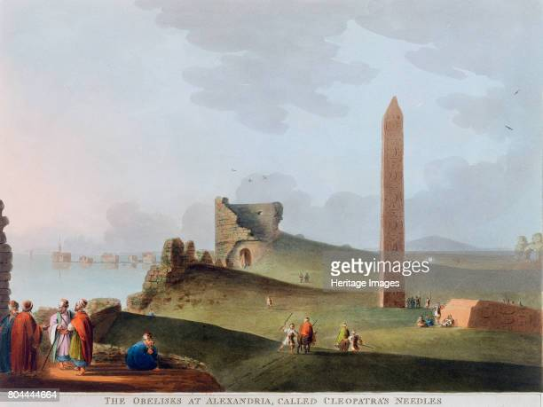 The Obelisks at Alexandria called Cleopatra's Needles' Egypt 1802 View of one of the pair of Ancient Egyptian obelisk dating from c1500 BC One of the...