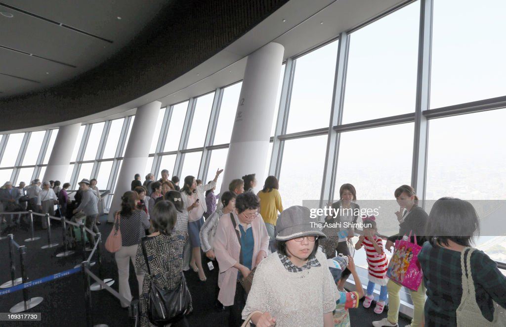 The observation deck is packed with the visitors at Tokyo Skytree on May 22, 2013 in Tokyo, Japan. The world's tallest broadcasting tower has been attracting visitors, Tokyo Skytree Town, shopping complex underneath the tower achieved 50 million visitors.