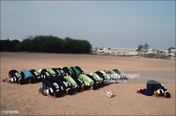 The occupied territories 25 years after 6 days of the war in Israel in May 1992Players of two Islamic soccer teams pray together during a break