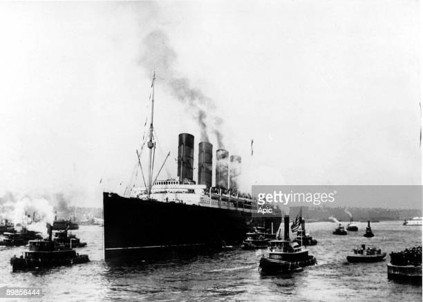 The ocean liner RMS Lusitania arrives in New York on her maiden voyage 13th September 1907