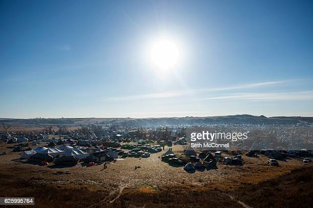 The Oceti Sakowin Camp on the Standing Rock Sioux Reservation in Canon Ball North Dakota on November 26 2016 The Army Corp of Engineers announced...
