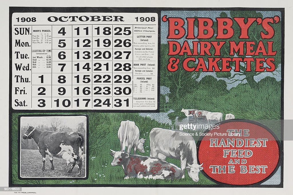 The October page of Bibby�s promotional calendar of 1908 features an advertisement for �Dairy Meal Cakettes� and illustrations of cows Bibby�s was...