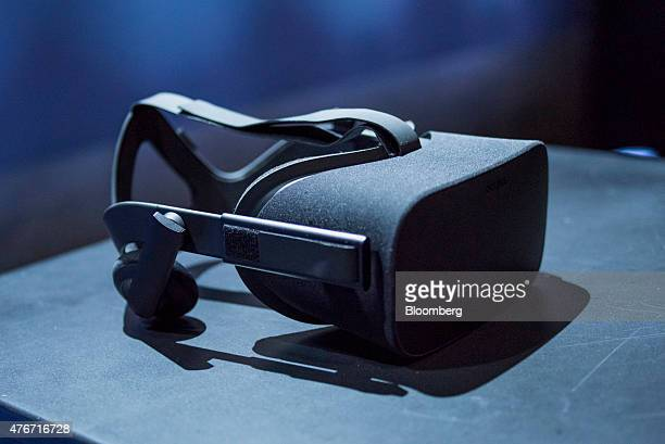 The Oculus VR Inc Rift headset is displayed for a photograph during the 'Step Into The Rift' event in San Francisco California US on Thursday June 11...