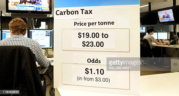 The odds for the price on carbon tax is displayed on the board of a betting agency showing that carbon to be taxed at between 1901 and 23 Australian...