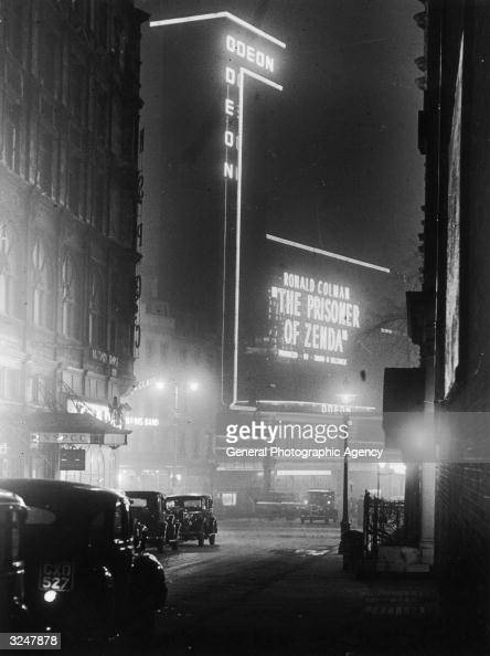 The Odeon cinema in London's Leicester Square showing the Ronald Colman version of 'The Prisoner of Zenda'