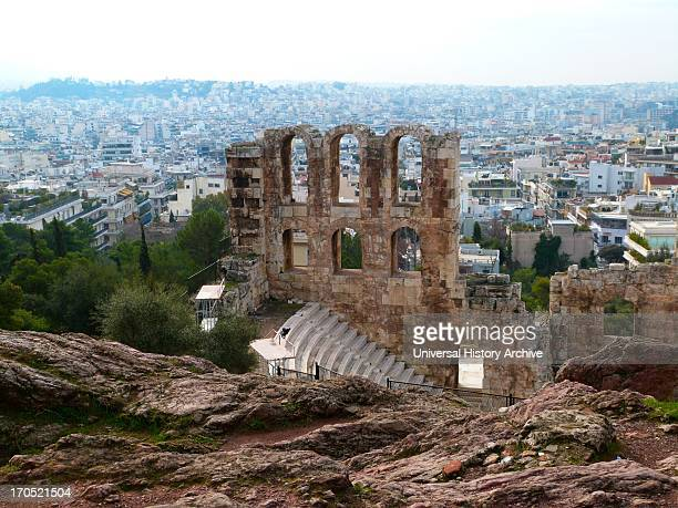 The Odeon of Herodes Atticus is a stone theatre structure located on the south slope of the Acropolis of Athens It was built in 161 AD by the...