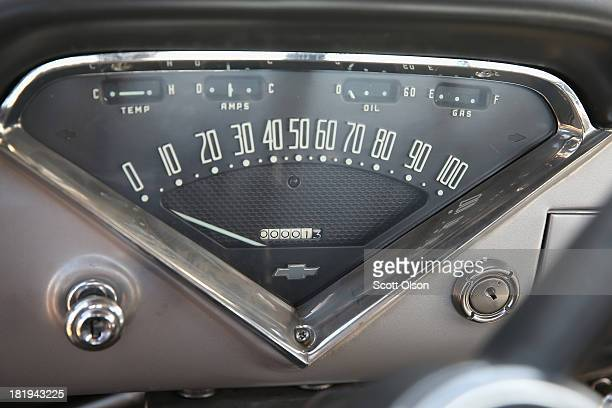 The odometer of a 1958 Chevrolet Cameo truck which is lined up for auction with other cars in a field on the Lambrecht family farm reads 1 mile on...