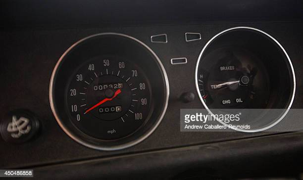 The odometer with 32 km is seen on an imported car from Japan on June 12 2014 in Nicosia Cyprus after it was left in the buffer zone in 1974 The...