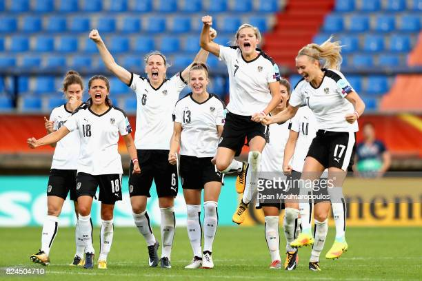 The of Austria team celebrate Spain missing a penalty in the penalty shoot out during the UEFA Women's Euro 2017 Quarter Final match between Austria...