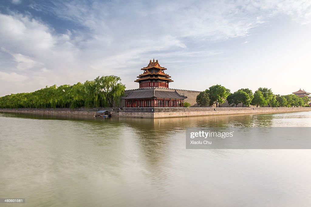 The of Forbidden City watchtower is seen on May 26, 2014 in Beijing, China. The Forbidden City was the Chinese imperial palace from the Ming dynasty to the end of the Qing dynasty. It is located in the center of Beijing, China, and now houses the Palace Museum. For almost 500 years, it served as the home of emperors and their households, as well as the ceremonial and political center of Chinese government.