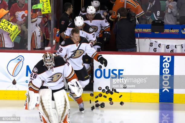 The of the Anaheim Ducks take to the ice to face the of the Calgary Flames during game 4 of the first round of the Stanley Cup Playoffs between the...