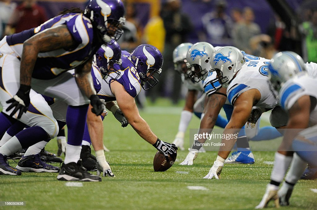 The offense for the Minnesota Vikings lines up against the defense for the Detroit Lions during the fourth quarter of the game on November 11, 2012 at Mall of America Field at the Hubert H. Humphrey Metrodome in Minneapolis, Minnesota. The Vikings defeated the Lions 34-24.