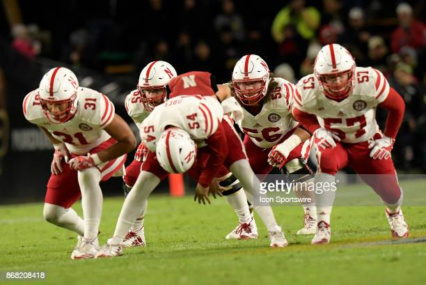 The offensive line for the Nebraska Cornhuskers special teams prepares to block on a punt play during the Big Ten conference game between the Purdue...