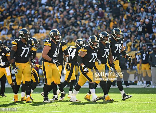 The offensive line of the Pittsburgh Steelers including center Cody Wallace guards David DeCastro and Ramon Foster and tackles Marcus Gilbert and...