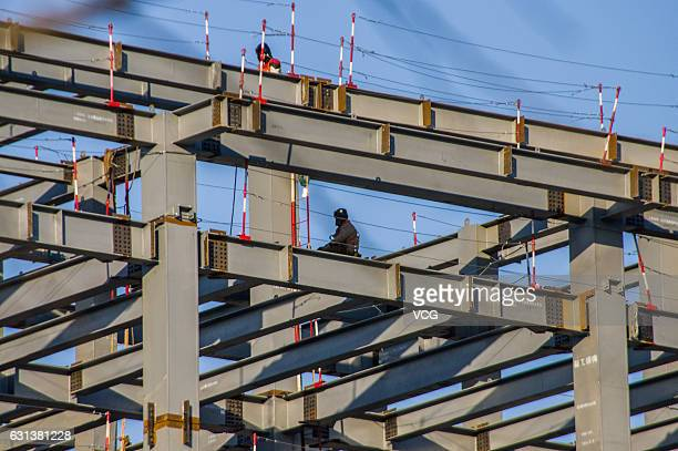 The office area in the vice administrative center of Beijing is under construction in Tongzhou District on January 9 2017 in Beijing China