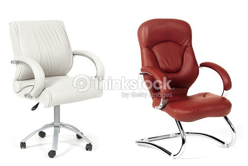 The Office Chairs From White And Brown Leather Stock Photo