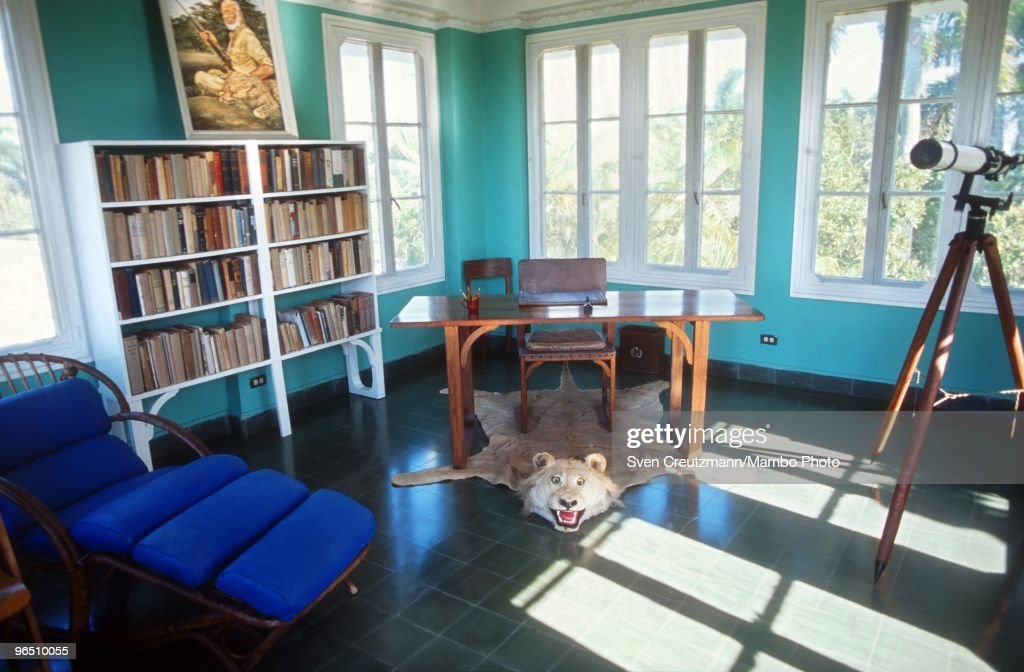 The office of Ernest Hemingway, located in a tower near his house at the Finca Vigia, on September 25,2009 in Havana, Cuba. The Hemingway´s Finca Vigia, now turned into a museum, has been restored with joint efforts of American and Cuban scientists and historians. Between 1939 and 1960, the American writer and journalist lived for many years in Cuba. It was here where he wrote his novel The Old Man and the Sea, which earned him both the Pulitzer Prize and the Nobel Prize in Literature.