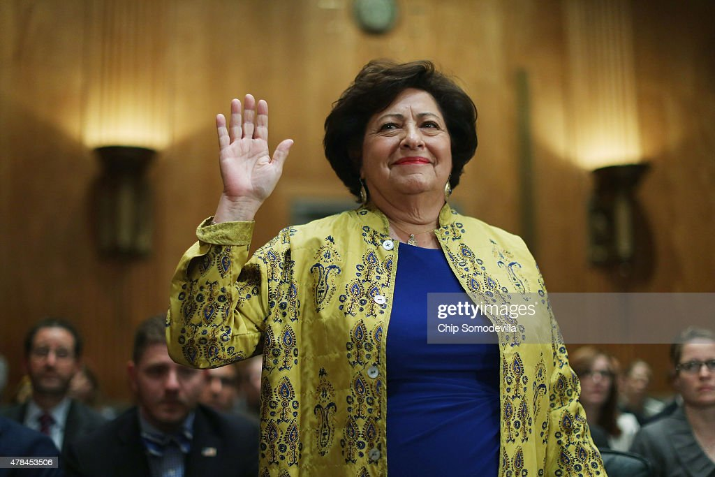 The Office of Personnel Management Director Katherine Archuleta is sworn in before testifying to the Senate Homeland Security and Governmental Affairs Committee about the recent OPM data breach in the dirksen Senate Office Building on Capitol Hill June 25, 2015 in Washington, DC. Archuleta said that the recent report that 18 million current, former government employees and people who applied for jobs had their personal data stolen is not confirmed and that only 4.2 million records had been breached.