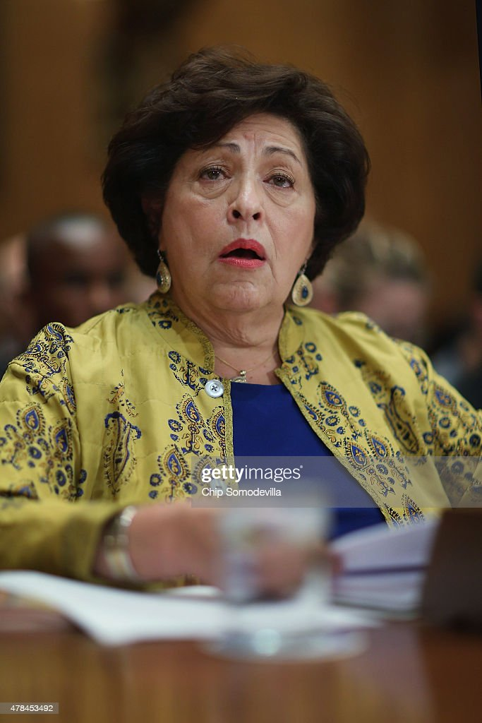 The Office of Personnel Management Director Katherine Archuleta testifies before the Senate Homeland Security and Governmental Affairs Committee about the recent OPM data breach in the dirksen Senate Office Building on Capitol Hill June 25, 2015 in Washington, DC. Archuleta said that the recent report that 18 million current, former government employees and people who applied for jobs had their personal data stolen is not confirmed and that only 4.2 million records had been breached.