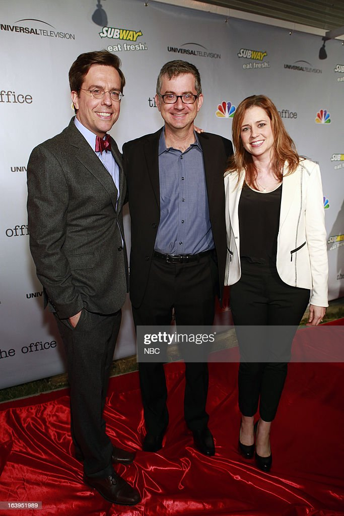 EVENTS -- The Office Wrap Party -- Pictured: (l-r) <a gi-track='captionPersonalityLinkClicked' href=/galleries/search?phrase=Ed+Helms&family=editorial&specificpeople=662337 ng-click='$event.stopPropagation()'>Ed Helms</a>, <a gi-track='captionPersonalityLinkClicked' href=/galleries/search?phrase=Greg+Daniels&family=editorial&specificpeople=851324 ng-click='$event.stopPropagation()'>Greg Daniels</a>, Executive Producer; and <a gi-track='captionPersonalityLinkClicked' href=/galleries/search?phrase=Jenna+Fischer&family=editorial&specificpeople=274744 ng-click='$event.stopPropagation()'>Jenna Fischer</a>?at 'The Office' wrap party at Unici Casa in Los Angeles, CA on Saturday, March 16. --