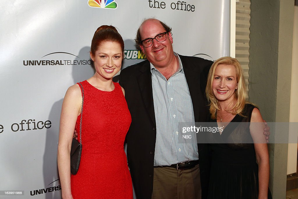 EVENTS -- The Office Wrap Party -- Pictured: (l-r) <a gi-track='captionPersonalityLinkClicked' href=/galleries/search?phrase=Ellie+Kemper&family=editorial&specificpeople=6123842 ng-click='$event.stopPropagation()'>Ellie Kemper</a>, <a gi-track='captionPersonalityLinkClicked' href=/galleries/search?phrase=Brian+Baumgartner&family=editorial&specificpeople=841410 ng-click='$event.stopPropagation()'>Brian Baumgartner</a> and <a gi-track='captionPersonalityLinkClicked' href=/galleries/search?phrase=Angela+Kinsey&family=editorial&specificpeople=743914 ng-click='$event.stopPropagation()'>Angela Kinsey</a>?at 'The Office' wrap party at Unici Casa in Los Angeles, CA on Saturday, March 16. --