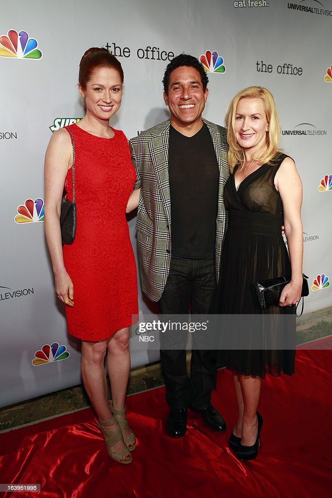 EVENTS -- The Office Wrap Party -- Pictured: (l-r) <a gi-track='captionPersonalityLinkClicked' href=/galleries/search?phrase=Ellie+Kemper&family=editorial&specificpeople=6123842 ng-click='$event.stopPropagation()'>Ellie Kemper</a>, <a gi-track='captionPersonalityLinkClicked' href=/galleries/search?phrase=Oscar+Nunez&family=editorial&specificpeople=851199 ng-click='$event.stopPropagation()'>Oscar Nunez</a> and <a gi-track='captionPersonalityLinkClicked' href=/galleries/search?phrase=Angela+Kinsey&family=editorial&specificpeople=743914 ng-click='$event.stopPropagation()'>Angela Kinsey</a>?at 'The Office' wrap party at Unici Casa in Los Angeles, CA on Saturday, March 16. --