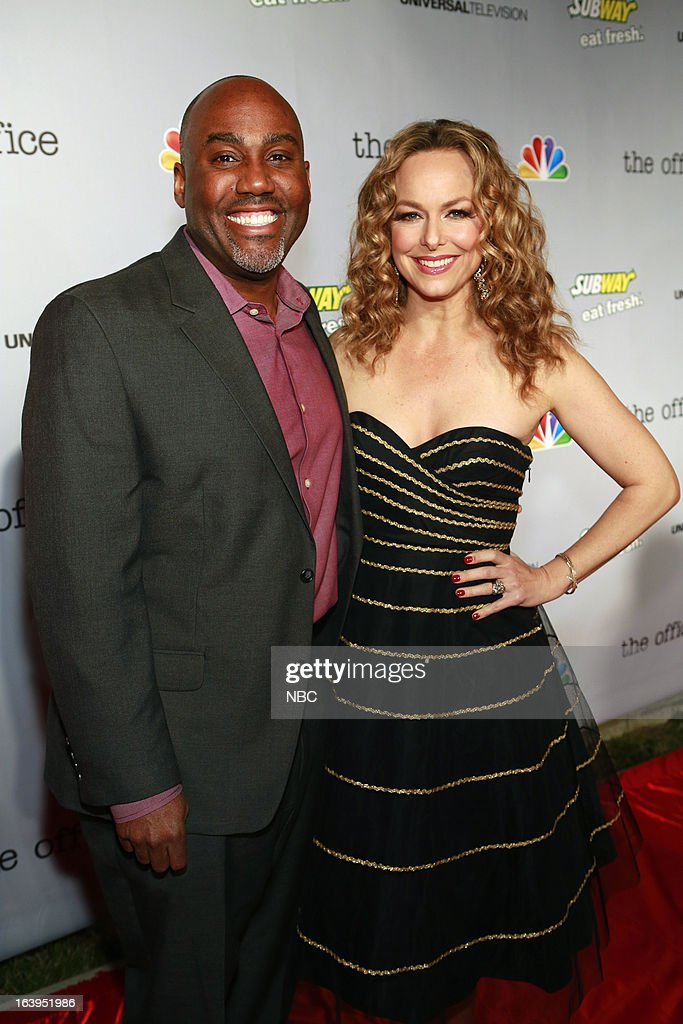 EVENTS -- The Office Wrap Party -- Pictured: (l-r) Vernon Sanders, Executive Vice President, Current Programming, NBC Entertainment; and Melora Hardin at 'The Office' wrap party at Unici Casa in Los Angeles, CA on Saturday, March 16. --