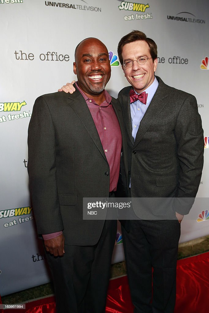 EVENTS -- The Office Wrap Party -- Pictured: (l-r) Vernon Sanders, Executive Vice President, Current Programming, NBC Entertainment; and <a gi-track='captionPersonalityLinkClicked' href=/galleries/search?phrase=Ed+Helms&family=editorial&specificpeople=662337 ng-click='$event.stopPropagation()'>Ed Helms</a> at 'The Office' wrap party at Unici Casa in Los Angeles, CA on Saturday, March 16. --