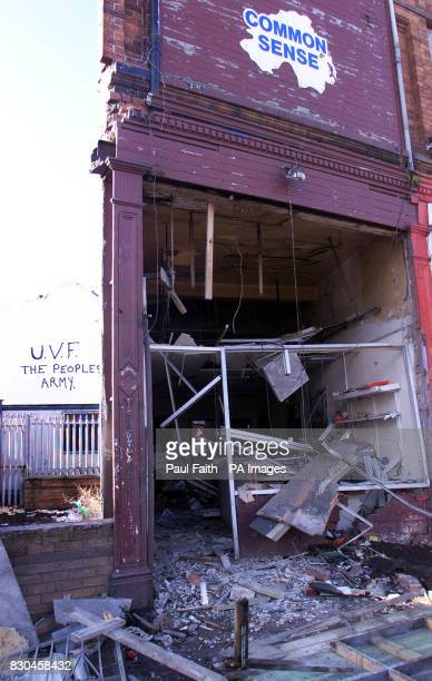 The offices of Loyalist Prisoners' Aid on the Shankill Road in Belfast which was wrecked in a bomb blast early morning Monday September 18 causing...