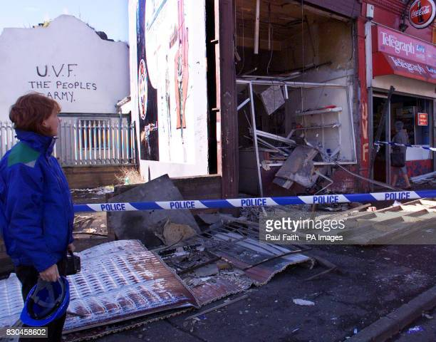 The offices of Loyalist Prisoners' Aid on the Shankill Road in Belfast which was wrecked in a bomb blast early causing substantial damage to the...