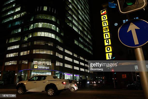 The offices of Sonangol EP stand illuminated at night in Luanda Angola on Thursday Nov 7 2013 Angola the largest crude oil producer in Africa after...