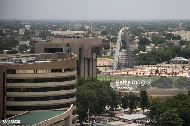 The offices of the Caisse Nationale des Prevoyances Sociales left the Central Bank of Central African States center and the Arch of the Place de la...